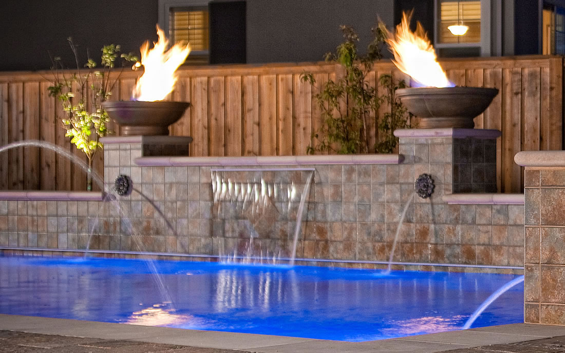Outdoor Living Spaces w Pool and Firepit